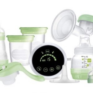 Green Single Pump, Touch screen technology with plug, containers with lids and bottles